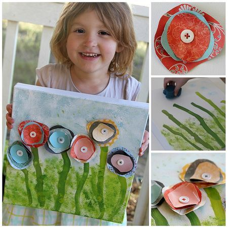 What's not to love? Painting, cutting circles out of pretty papers, and button-sewing practice!