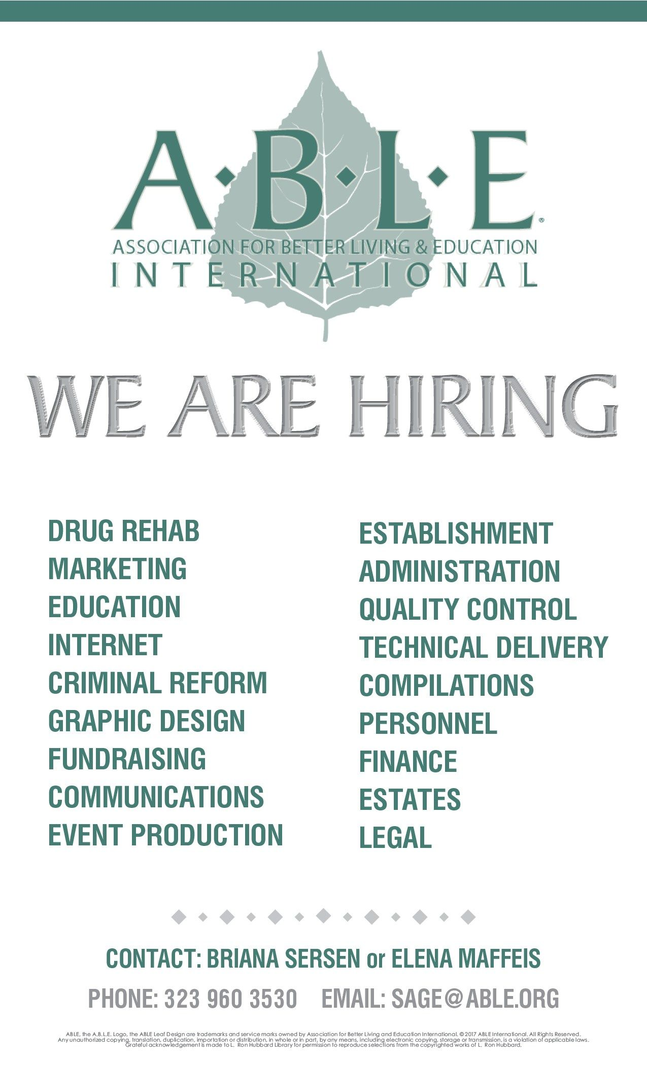 Scientology ABLE group is hiring! Anyone! Please! Drug