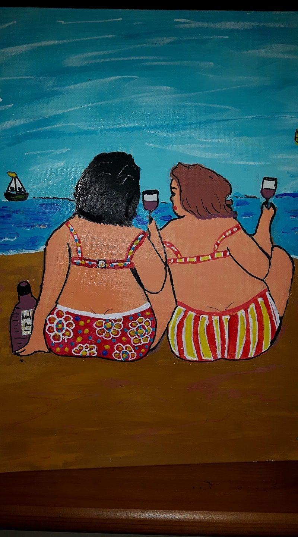Dames aan het strand, Na een schilderij van Liz vrolijk schilderij.