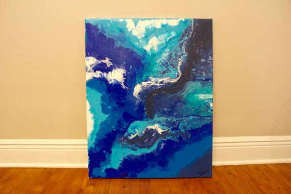 28 X 22 Rectangular Acrylic Flowy Dripped Textured Marbled