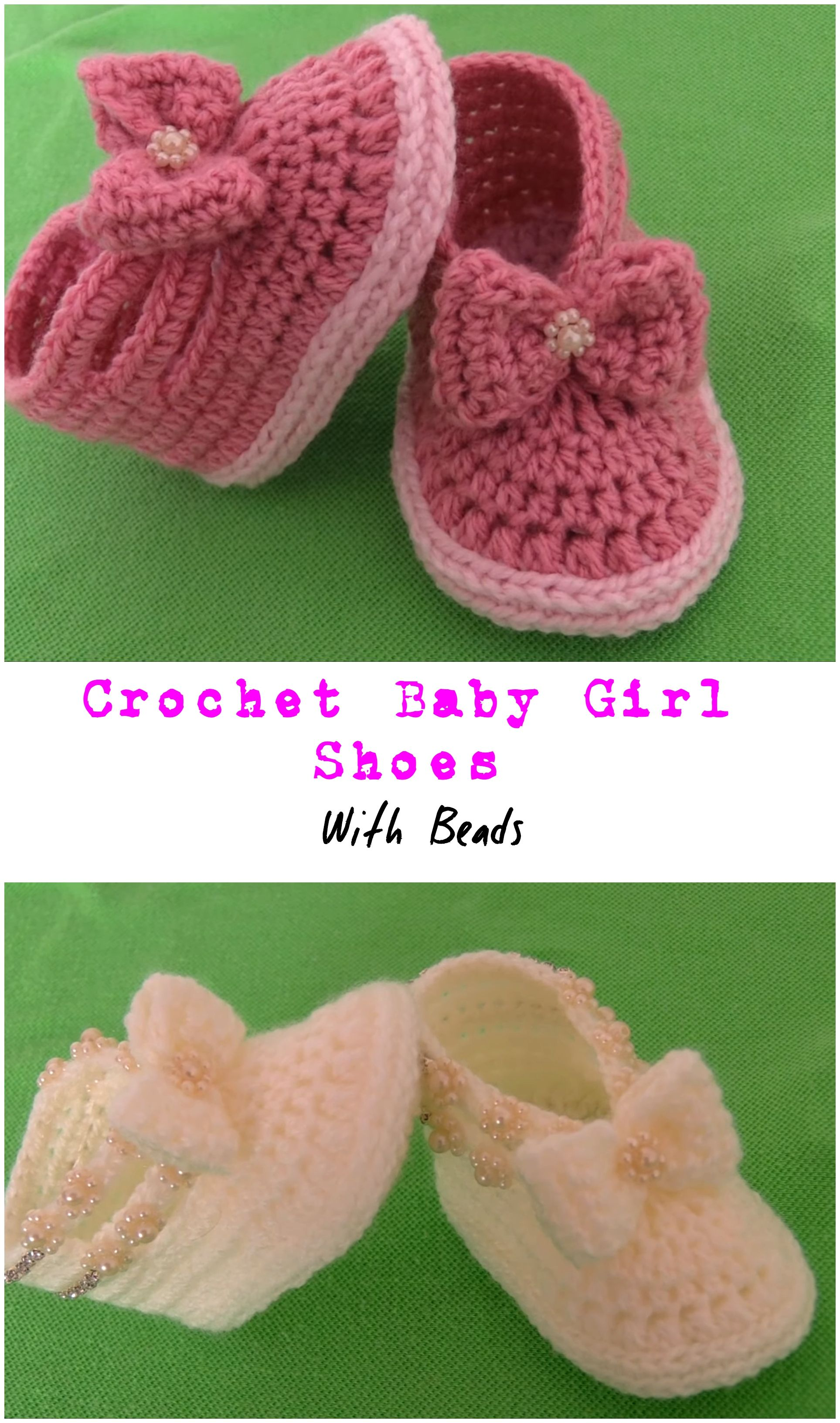 Photo of Crochet Baby Girl Shoes With Beads