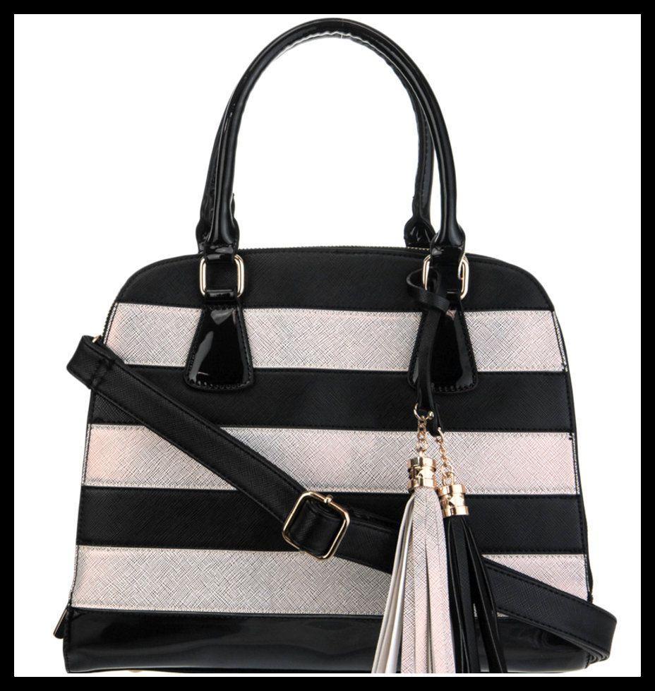 Black & White Gold Striped Handbag