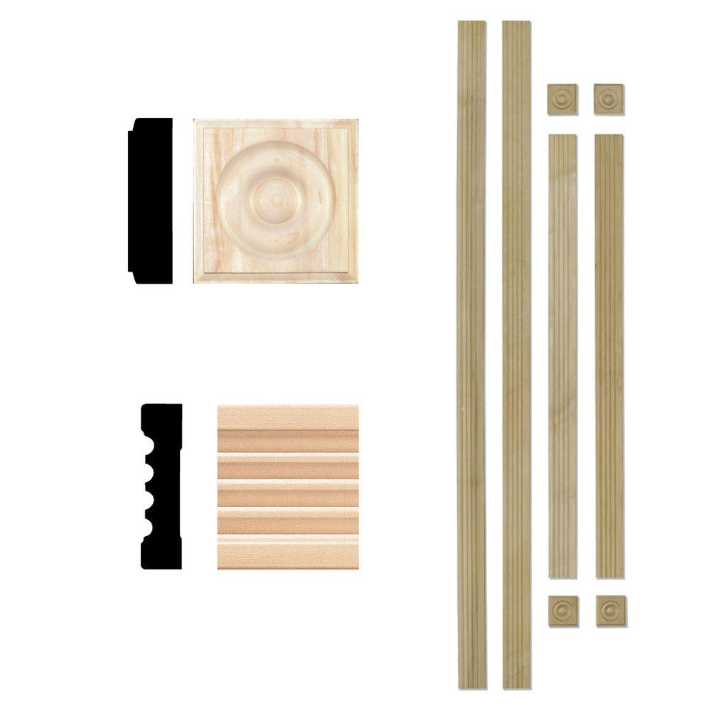 House Of Fara 3 4 In X 3 In Hardwood Fluted Window Trim Set Casing Moulding Up To 4 Ft X 6 Ft Opening Natural Window Casing Hardwood Base Shoe Molding