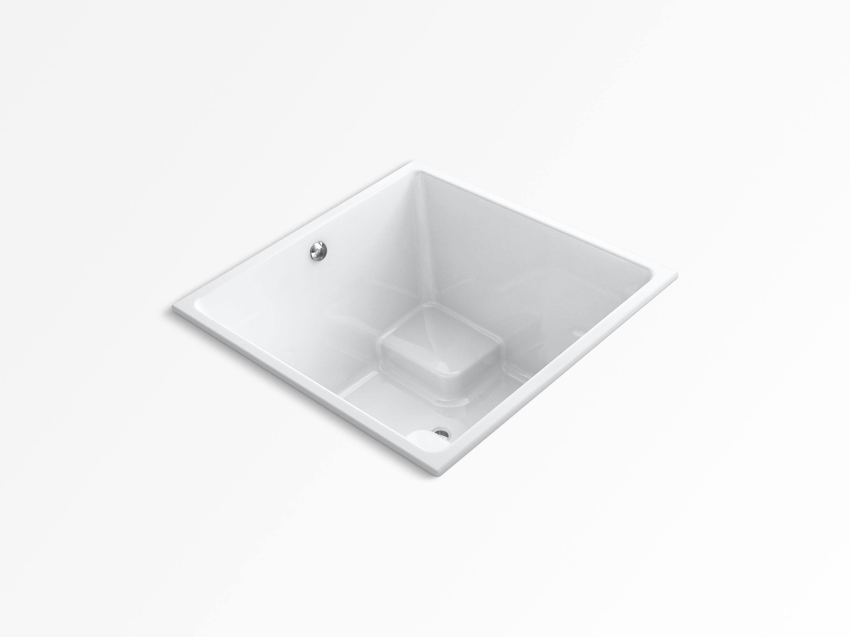 "KOHLER K-1968-0 Underscore 48"" x 48"" cube drop-in bath with center drain - White"