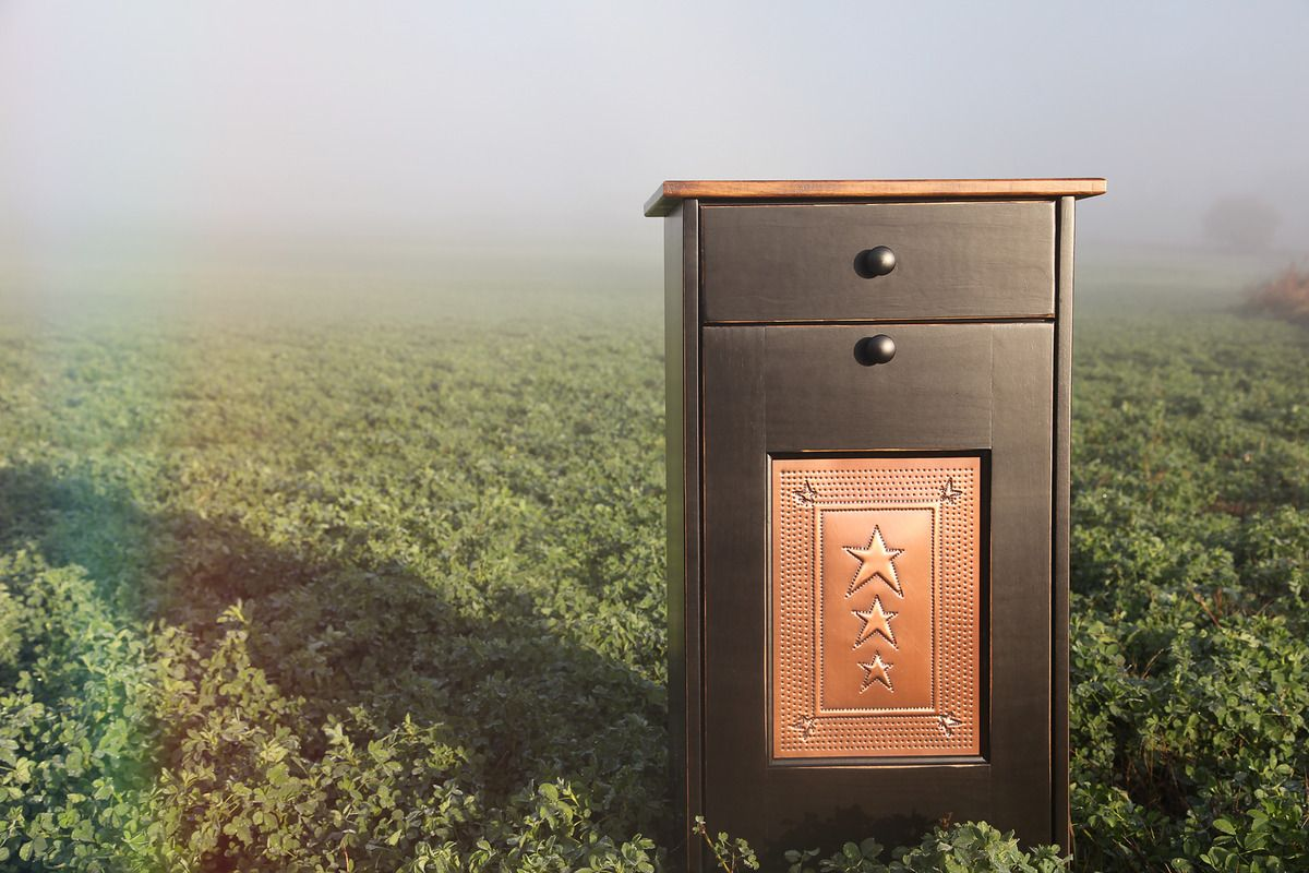 Trash Bin Cabinet Tin With Drawer   Peaceful Valley Amish Furniture