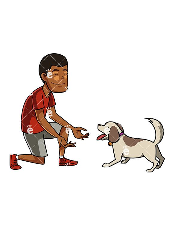 A Black Man And His Dog Excitedly Interacting Cartoon Dog Funny