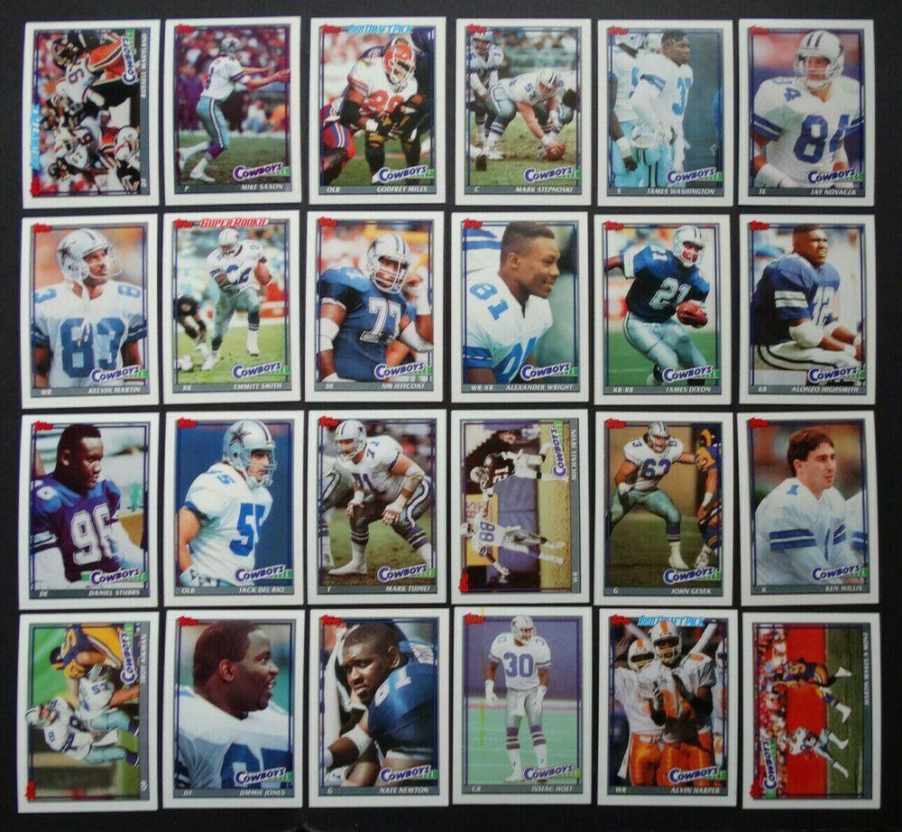 1991 topps dallas cowboys team set of 24 football cards