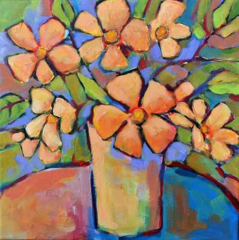 Wake Up Sunshine - Original Abstract Painting by Texas Contemporary Artist Filomena de Andrade Booth, painting by artist Filomena Booth