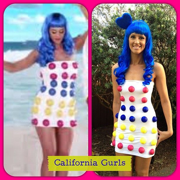 Katy Perry Candy Queen Costume Or Wig Ladies 80s Celebrity Fancy Dress