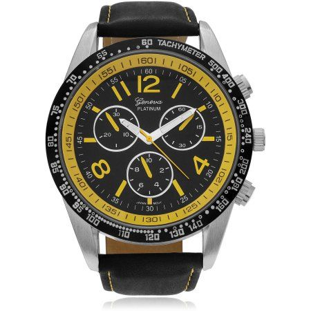 Aktion Men's Genuine Leather Round Face Fashion Watch, Yellow