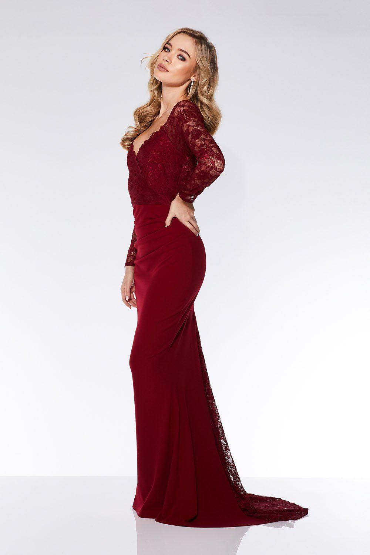 dbdb69eae Berry Lace Long Sleeve Fishtail Maxi Dress | Bridesmaids | Fishtail ...
