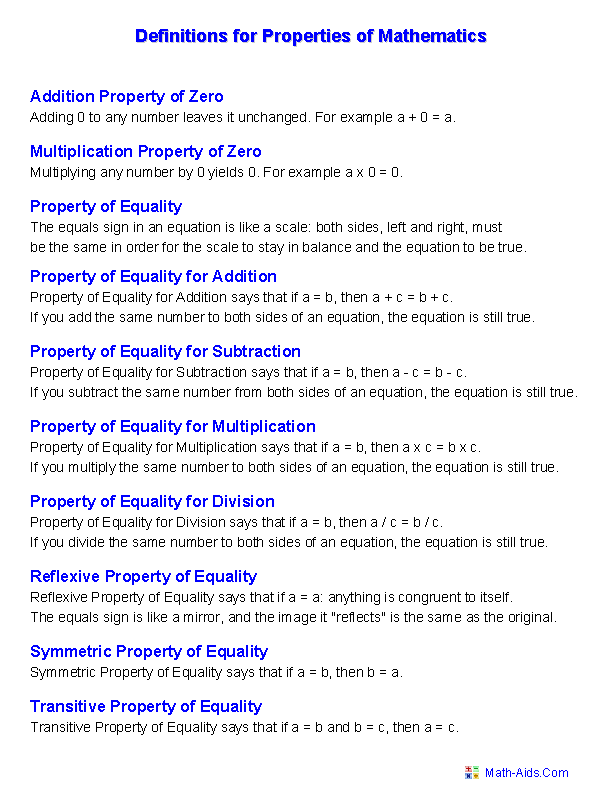 Properties Worksheets Properties Of Mathematics Worksheets Mathematics Worksheets Math Properties Math Worksheets