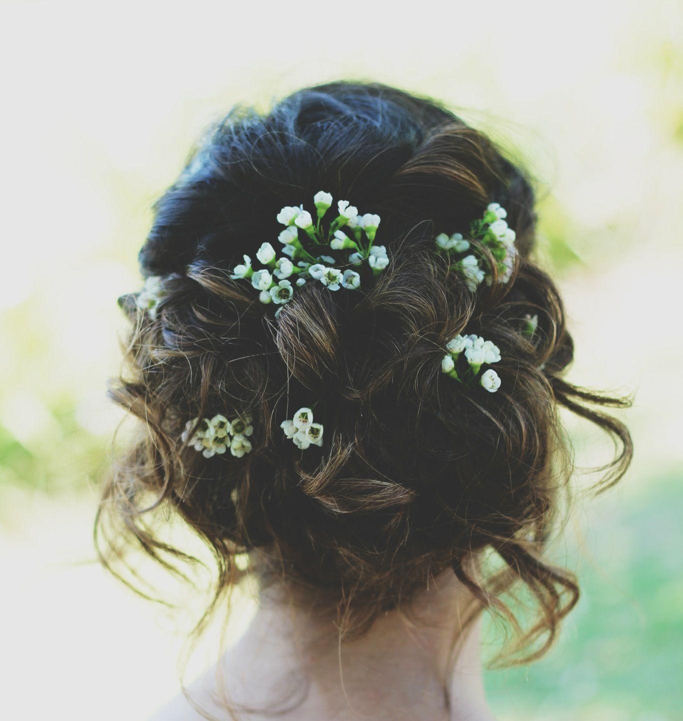 Prom hair updo loose flowers prom natural bohemian brown hair