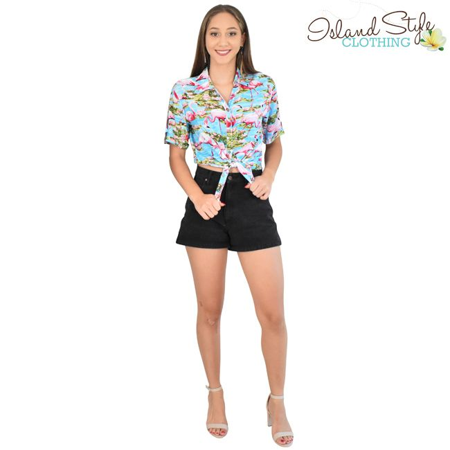 97f33f9c513c3a Single and Ready to Flamingle in this party print. Ladies Cut Hawaiian  shirts in turquoise and pink base. Perfect for Cruising, Casual, Fancy  Dress, ...