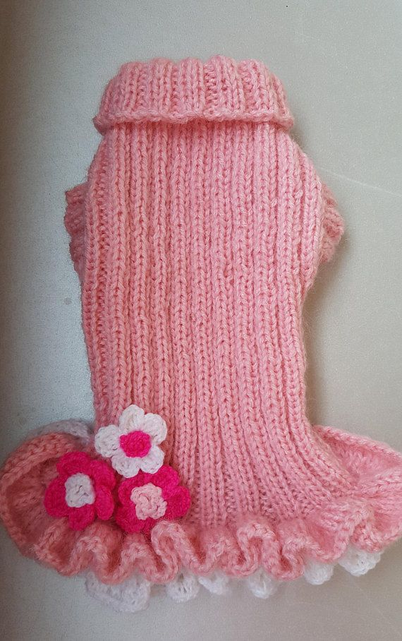 Pink knitted dress for dogs-Chihuahua Dress-Small-Dog Costume-Dog ...