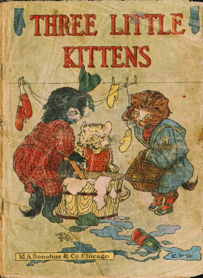 Children S Book Cover Posters : Juvenile illustration three little kittens book