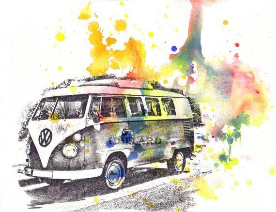 Retro Vintage Art Volkswagen Vw Van Bus Art Print from Original Watercolor Painting print Car Art Room Decor Bright Wall Decor