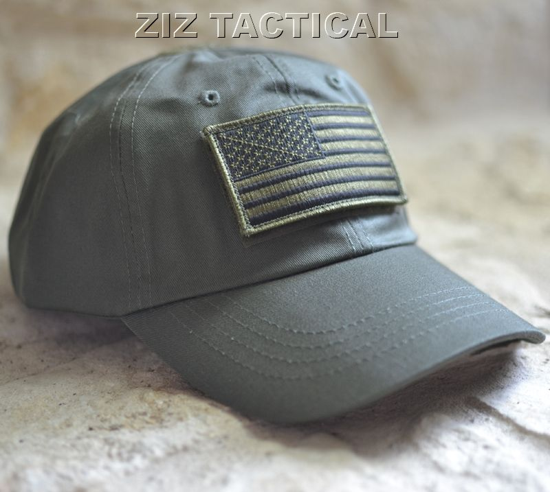 OD Green Tactical Operator Hat with Subdued US Flag   Tactical Gear