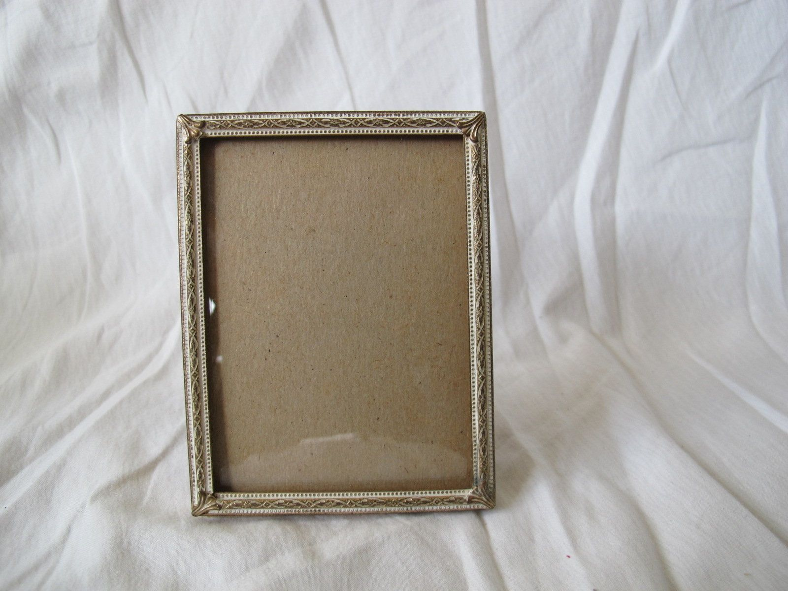 Small Danish Brass Frame 4 X 3 Inches Gold And White Photo Frame With Convex Glass Vintage Picture Frames Brass Frame White Photo Frames