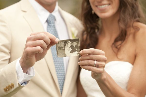 Cute picture idea. Hold a photo of your grandparents' wedding day.