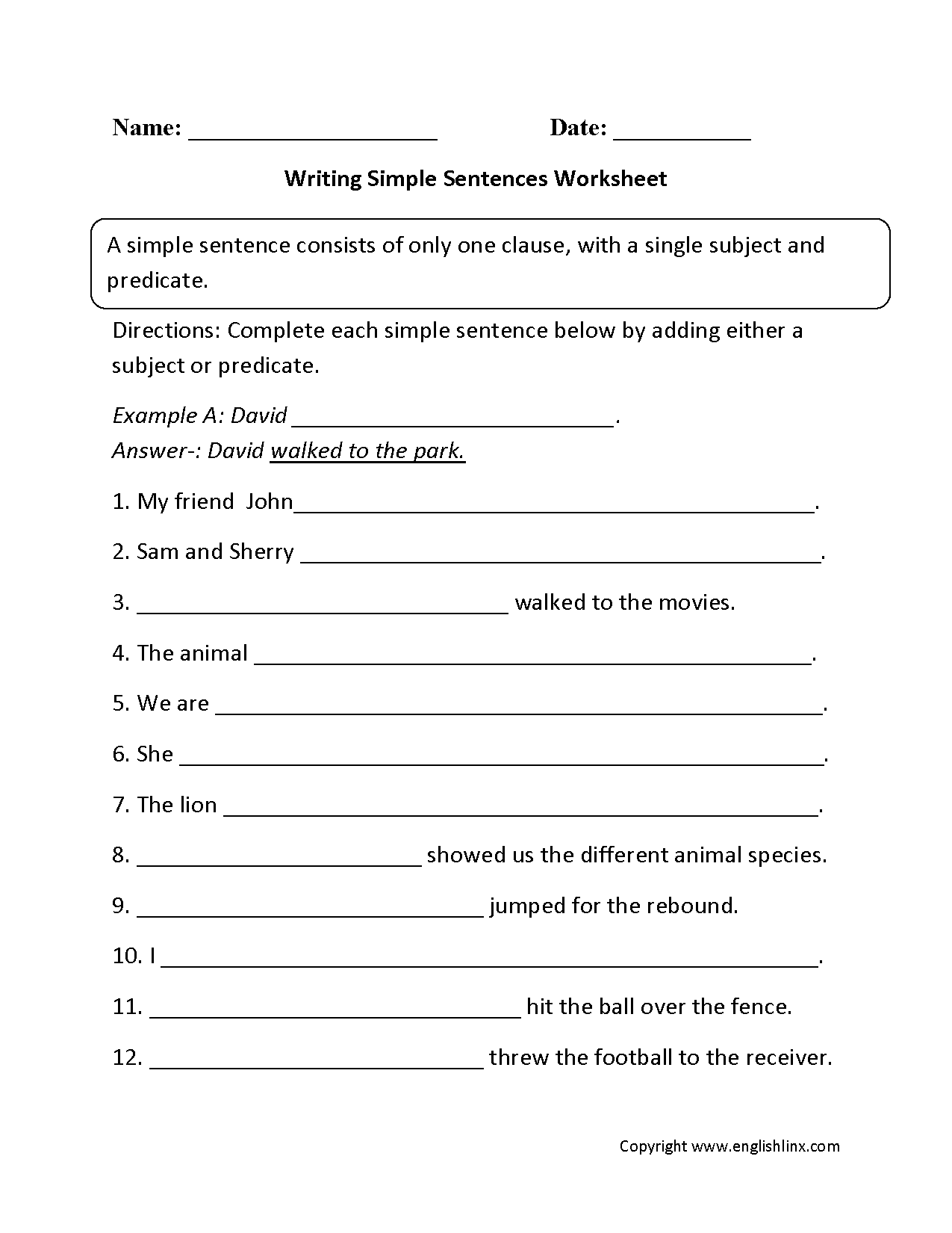Writing Simple Sentences Worksheet Part 1 Beginner