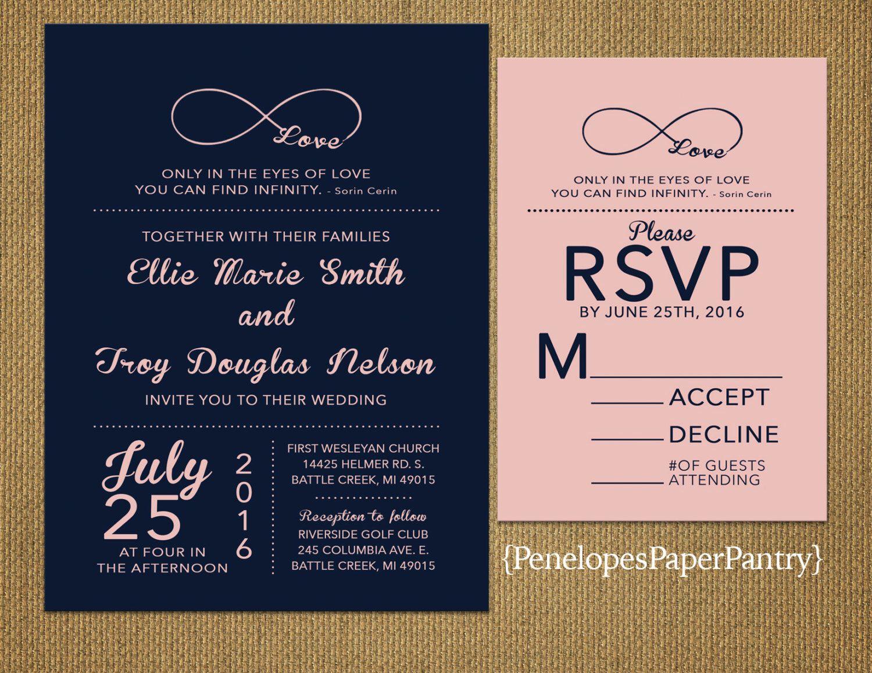 Navy Wedding Invites: Elegant Navy And Pink Wedding Invitation,Infinity Love