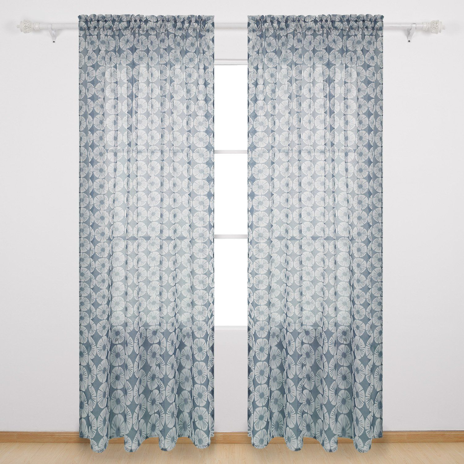 Deconovo Transparent Voile Drapes Floral Pattern Sheer Curtains