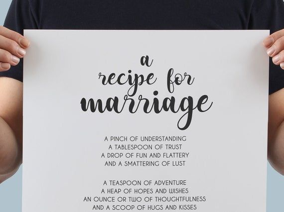 Marriage Recipe, Recipe for Marriage, Couple Goals, Anniversary Gift, Wedding Gi…#anniversary #couple #gift #goals #marriage #recipe