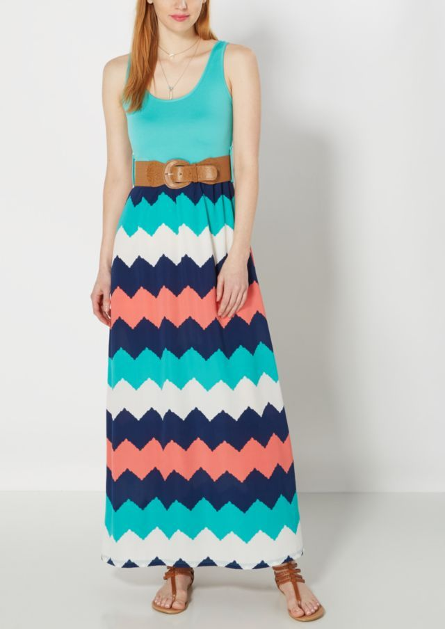 image of Watercolor Chevron Belted Maxi Dress