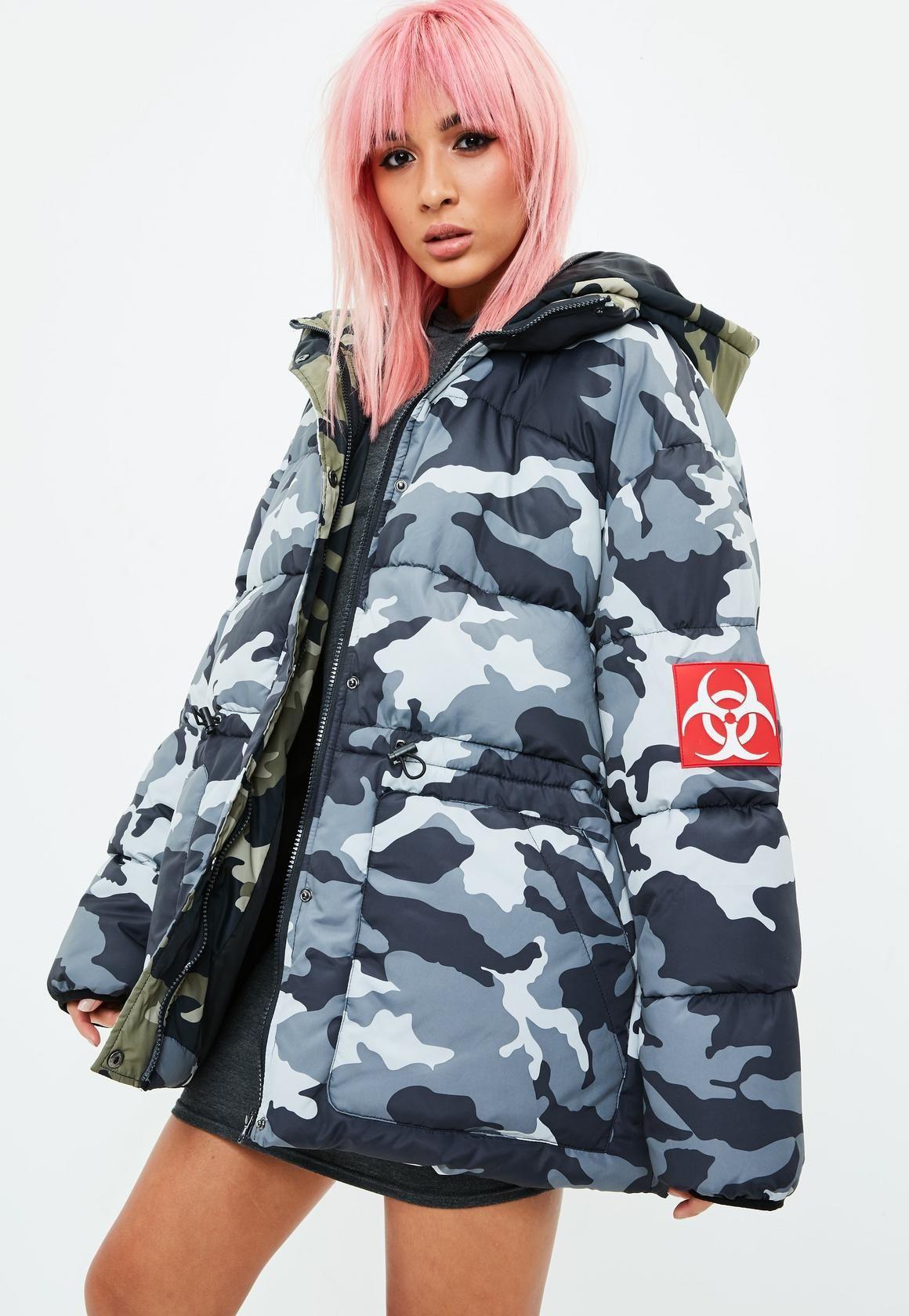 f3e5f098 Missguided - Grey Camo Padded Jacket   women   Jackets, Camo puffer ...