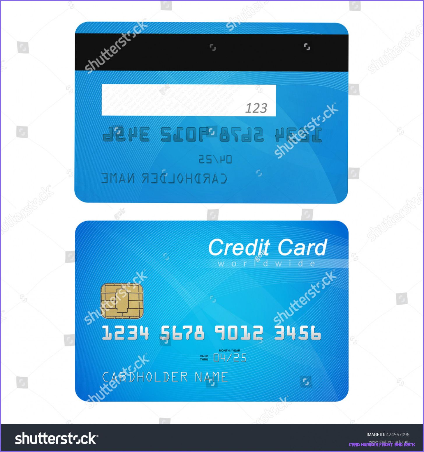 Credit card front back stock illustration 9 card number
