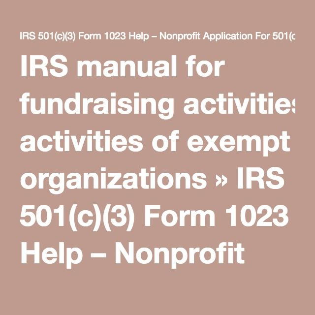 Irs Manual For Fundraising Activities Of Exempt Organizations Irs