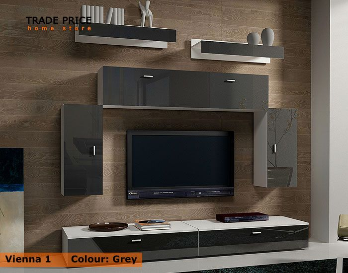 tv wall units tv cabinets tv stand - grey high gloss modern