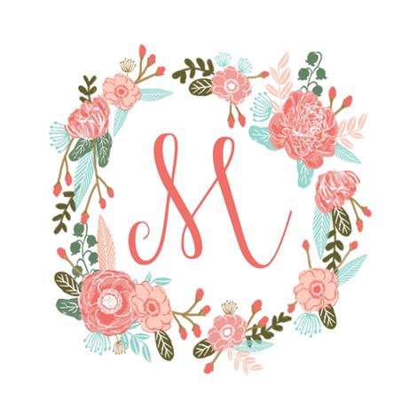Colorful Fabrics Digitally Printed By Spoonflower M Monogram Girls Sweet Florals Flowers Flower Wreath Girls Monogram Pillow Fabric Swatch Design Mini 8 Swat Monogram Wallpaper Floral Letters Monogram Backgrounds