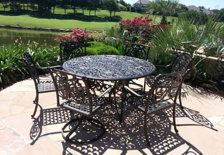 Hanamint S Chateau 42 X 76 Butterfly Extension Dining Table With Grandview Swivel Dining Chairs Enjoy Your Outdoor Room Outdoor Rooms Patio Fireplace Patio