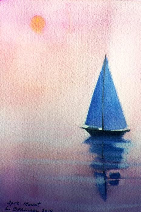 Watercolor Sailboat Google Search Painting Aquarelle Facile