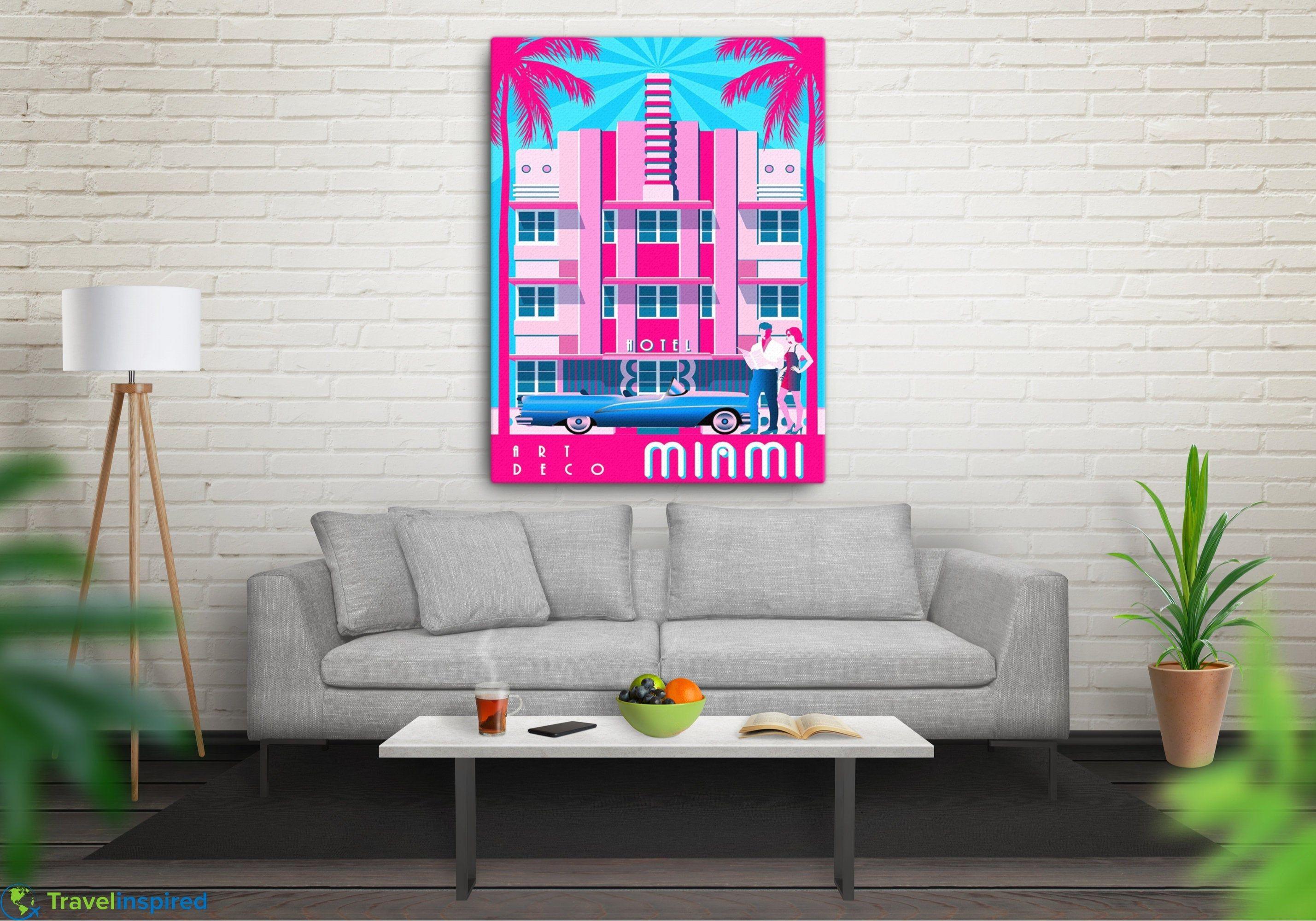 Art Deco Miami Canvas Retro Style Miami Beach Wall Art Vintage