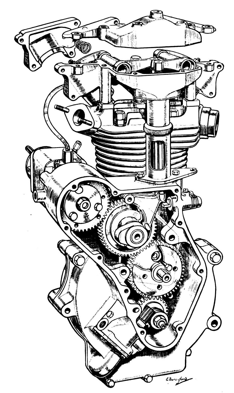 Cutaway view of the 1973 Kawasaki Z1 900 engine