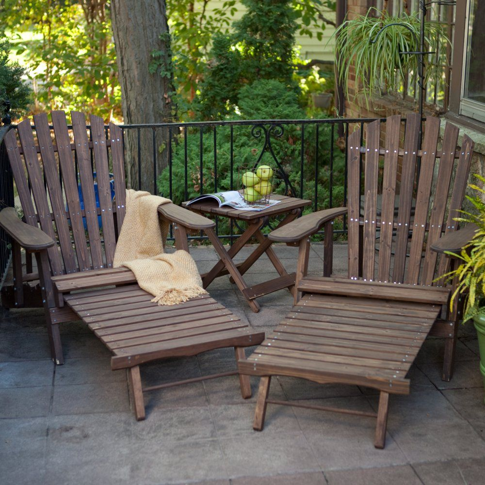 Coral Coast Grand Daddy Oversized Adirondack Chair Set With FREE Side Table    Dark Brown
