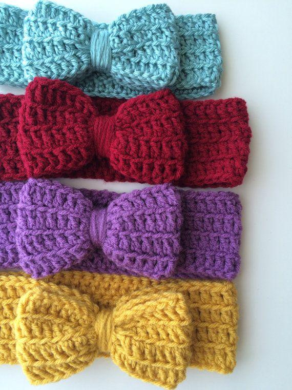 Crochet headband, crochet bow, crochet ear warmer, mustard, fall ...