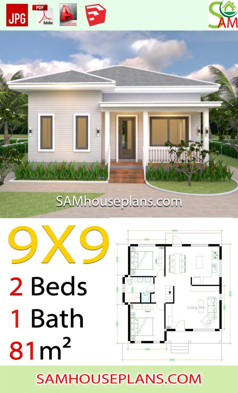9x9 Room Design: House Plans 9x9 With 2 Bedrooms Hip Roof In 2020