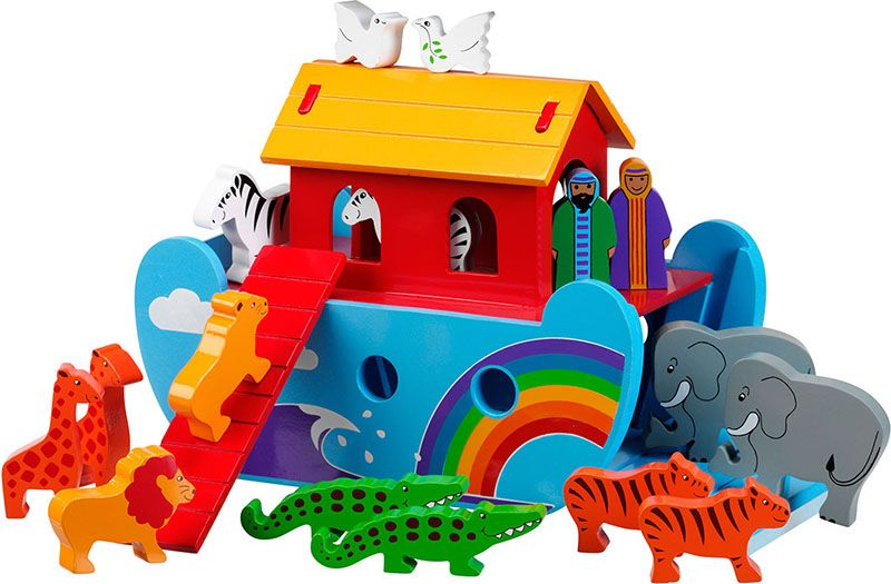 Classic Paint Detailed Wooden Toy with Removable... Indigo Jamm Noah's Ark