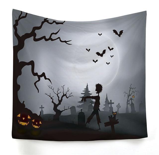 Spooky Scarecrow & JackOLantern Wall Tapestry Tapestry