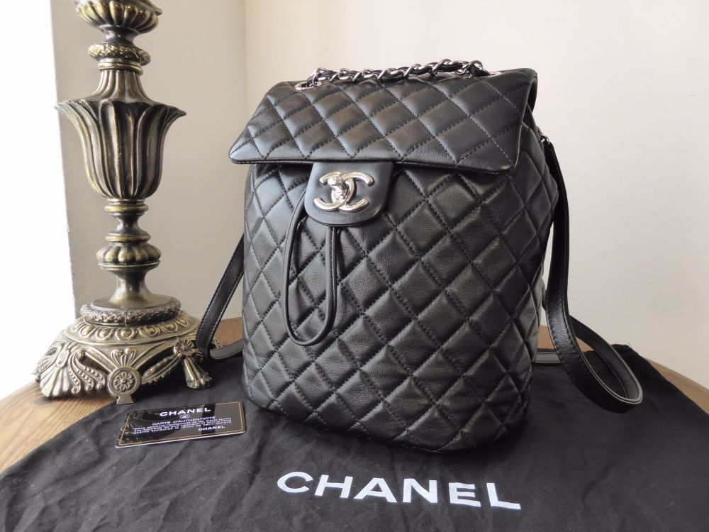 29e6a9b191c0 Chanel 'Urban Spirit' Smaller Sized Backpack in Black Lambskin with Silver  Hardware >