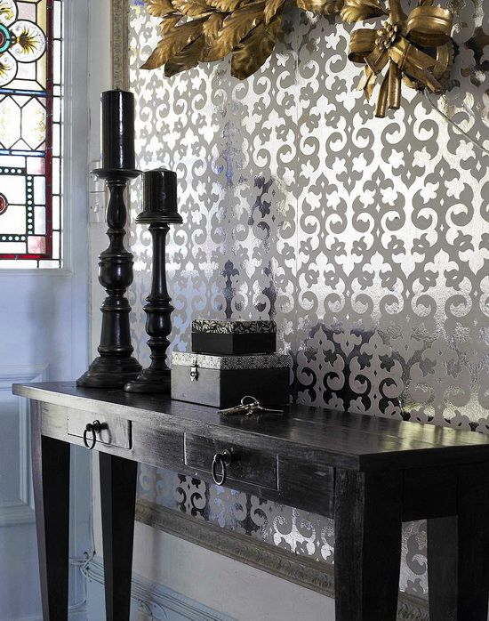 the metallic and mirrored use in this wallpaper adds interest and