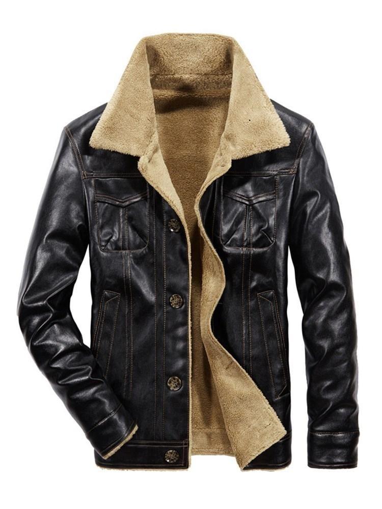 059c767d01d0 Pocket Single-Breasted Men s PU Jacket. Pocket Single-Breasted Men s PU  Jacket Custom Leather Jackets ...
