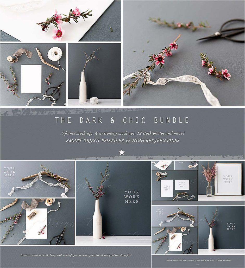Dark chic mockup bundle | Design Tools | Mockup, Free
