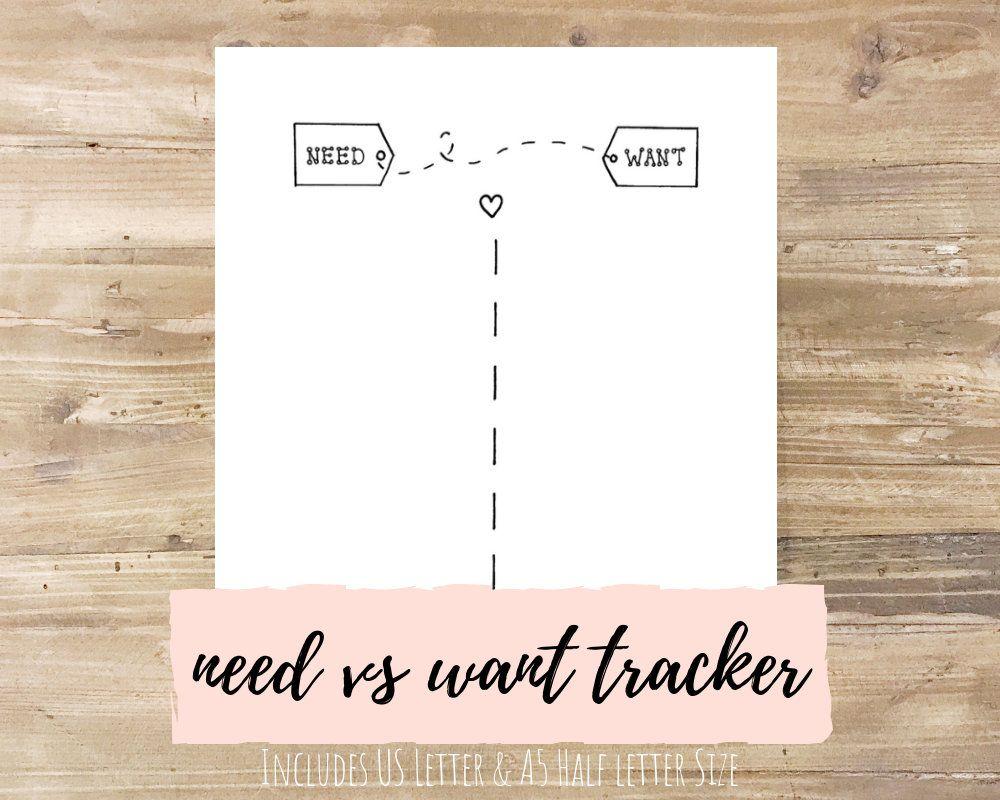 Need vs Want Spending Tracker Bullet Journal Printable