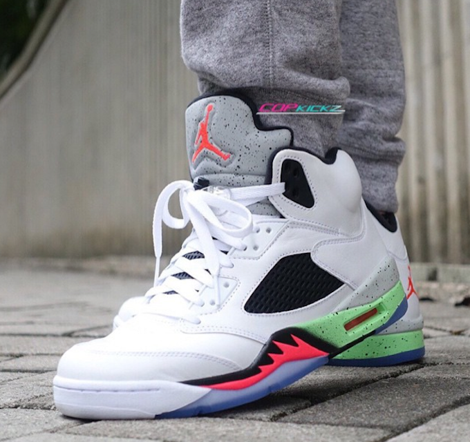 space jam air jordan 5 on feet