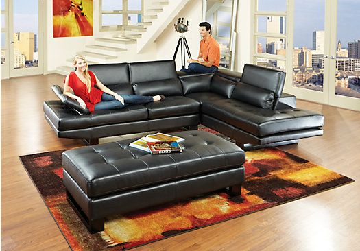 Shiloh Black Blended Leather6 Pc Sectional Living Room Plus Hdtv